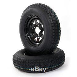2 ST175/80D13 LRC ET Bias Trailer Tires on 13 5 Lug Black Spoke Wheels B78-13