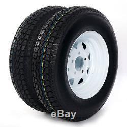 2 of 175/80D13 LRC ET Bias Trailer Tire on 13 5 Lug White Spoke Steel Wheel