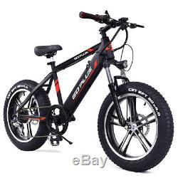 20 Electric Fat Tire Bike Snow Mountain Bicycle w Removable Lithium Battery 48V