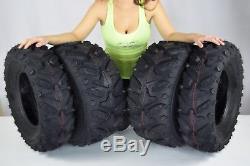 25 (2x) 25x8-12 & (2x) 25x10-12 MASSFX Grinder 6 PLY ATV Tires 25x8x12 25x10x12