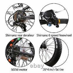 26 350W Fat Tire Electric Bicycles Shimano 6 Speed Gear E-Bike 36V10Ah Battery
