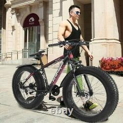 26-inch 4W Fat Tire Mountain Bike 21-Speed Bicycle High-Tensile Steel Frame US