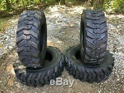 4 NEW 10-16.5 Skid Steer Tires 12 ply -10X16.5 12 PLY-for Bobcat & others