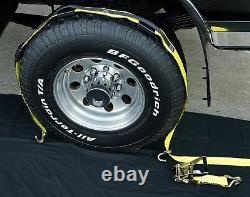 4 Over The Tire Car Hauler Truck Trailer Auto Tie Down Ratchet Straps 3WH