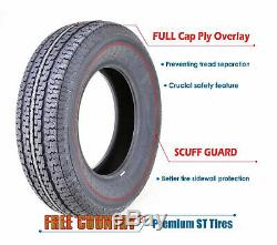 4 Premium FREE COUNTRY Trailer Tires ST205 75R14 /8PR Load Range D withScuff Guard