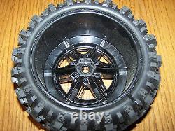 4 Traxxas 8S 1/5 X-Maxx AT Tires Black Wheels Assembled Glued 77086-4 / Fits 6s