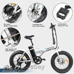 500W 36V 7 Speed 20'' Fat Tire Folding Electric Bicycle City Beach E-bike White