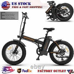 AOSTIRMOTOR Folding Electric Bicycle 500W Motor 20 Fat Tire With 36V/13Ah Li-Ba