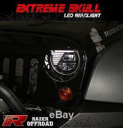 Angry Bird LED Black Headlight DRL+Hi+Lo Beam+LEDs For 07-18 Jeep JK Wrangler