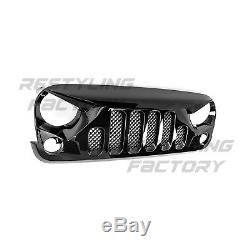 Angry Skull II Gloss Black Replacement Mesh Grille for 07-18 Jeep Wrangler JK