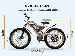 Aostirmotor 26 1500W Electric Bike Mountain Motorcycle 48V/15Ah Fat Tire E-bike