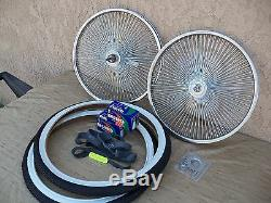 Bicycle 20''-140 Spokes Rim Set With Tires, Tubes & Liners For Schwinn, Low Rider