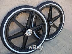 Bicycle 20'' Mag Plastic' Wheel Set 6 Spoke Black With Tires & Tubes For Gt, DI