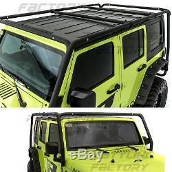 Cargo Roof Rack System Base+Top Cross Bar for 07-18 Jeep Wrangler 4 Door ONLY