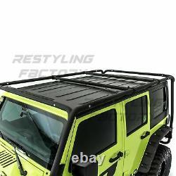 Cargo Roof Rack System Base+Top Cross Bar for 07-18 Jeep Wrangler JK 4 Door ONLY