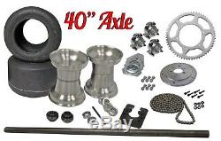 Drift Trike 40 Axle Kit with Tires & Rims #40 Chain Sprocket Wheels Part Package