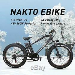 Electric Bike Beach Snow Bicycle 26 500W48V12A Fat Tire Electric Bicycle