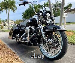 Fat Spoke Wheel 21x3.5 Black Spokes Harley Touring Bagger Rotors Tire Mounted