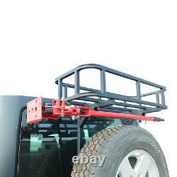 Fits 97-18 Jeep Wrangler Rear Cargo Basket for Rear Bumper WithTire Carrier