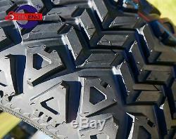 GOLF CART 10 BLACK BULLDOG WHEELS/RIMS and 18x9-10 DOT ALL TERRAIN TIRES (4)