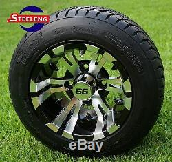 GOLF CART 10 MACHINED VAMPIRE WHEELS/RIMS and 205/50-10 DOT LOW PROFILE TIRES