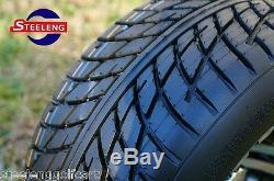 GOLF CART 10 POLISHED SILVER BULLET WHEELS and 205/50-10 LOW PROFILE TIRES (4)