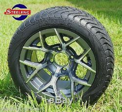 GOLF CART 12 GUNMETAL RALLY WHEELS and 215/40-12 LOW PROFILE TIRES (SET OF 4)