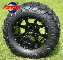 GOLF CART 12 NIGHT STALKER WHEELS and 22x11-12 AT/MT TIRES (4) EXCLUSIVE