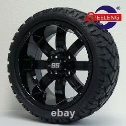 GOLF CART 14 BLACK TEMPEST WHEELS and 20 STINGER ALL TERRAIN TIRES DOT RATED