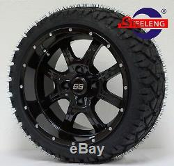 GOLF CART 14 NIGHT STALKER WHEELS and 20 STINGER ALL TERRAIN TIRES DOT RATED