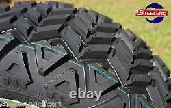 GOLF CART 14x7 BLACK VAMPIRE WHEELS and 23x10-14 DOT ALL TERRAIN TIRES (4)