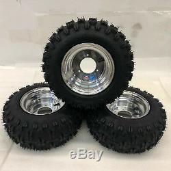 Honda ATC 70 DWT Polished Aluminum Front and Rear Wheels Rims Snow Hog Tires 18