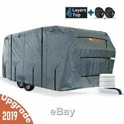 KING BIRD 24'-27' Extra-thick 4-Ply Camper Travel Trailer RV Cover &4 Tire Cover