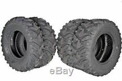 MASSFX Grinder 25x8-12 Front 25x10-12 Rear 4 Set ATV Tires Dual Compound 6-Ply