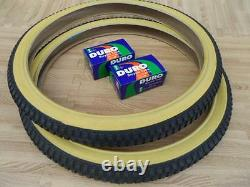 New PAIR of 20 BMX Bicycle Gumwall Snake Belly Skin Wall Tires & Tubes 20X1.75