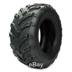Pair Black ATV/UTV Tires 25x10-12 25x10x12 Rear 6PR P377 Factory Direct Rubber