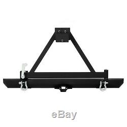 Rear Bumper With Tire Carrier D-ring For 87-96 YJ / 97-06 TJ Jeep Wrangler