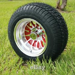 Set Of 4 Golf Cart 10 Machined/Red Wheels On Low Profile Tires No Lift Required
