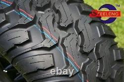 Set of 4 New Golf Cart STEELENG Mud Terrain Tires 22x11-12 TY3063