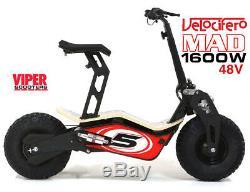 Velocifero Mad 1600w 48V Electric Scooter, New 2019 Model, Terrain Tyres, VQ
